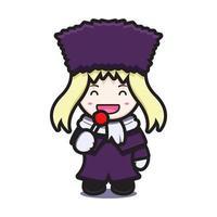 süßes Mädchen mit Winterkostüm Maskottchen Charakter essen Lutscher Vektor Cartoon Symbol Illustration