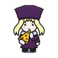 süßes Mädchen mit Winterkostüm Maskottchen Charakter essen Pizza Vektor Cartoon Symbol Illustration