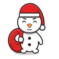 söt snögubbe seriefiguren bär jultomten hatt och hålla väskan