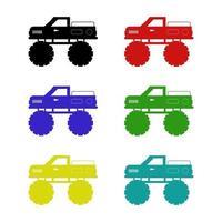 Monster Truck auf weißem Hintergrund eingestellt vektor