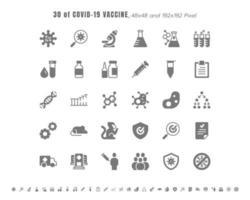 einfacher Satz von Covid-19, Coronavirus-Impfstoff-Entwicklung fester Glyphen-Symbole. Symbole wie klinische Forschung, Antikörper, Labor, Immunsystem, Behandlung, Injektionsspritze, 48 x 4 Pixel. vektor