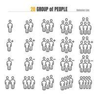 Personengruppe mit Add Plus und Delete. Modernes Design Gliederungsikone Illustration Vektor eps 10.