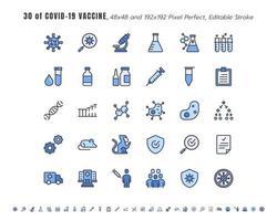 einfacher Satz von Covid-19, Coronavirus-Impfstoff-Entwicklungslinie Umriss-Symbole. Symbole wie klinische Forschung, Antikörper, Labor, Immunsystem, Behandlung, Injektion, 48x4 Pixel perfekt. bearbeitbarer Schlaganfall. vektor
