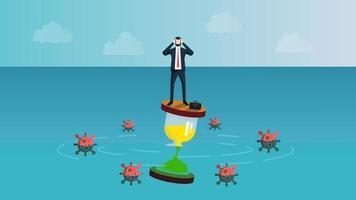 Castaway Geschäftsmann, der Angst fühlt, während er auf Sanduhr steht. Das heißt, Geschäftsleute warten auf das Konzept des Coronavirus 2019 oder des Covid-19-Infektionskrisenendes. Vektor-Illustration eps 10. vektor