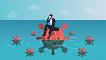 Castaway Geschäftsmann, der Angst fühlt, während er auf Virusinsel sitzt. Dies bedeutet, dass Geschäftsleute Stress wegen des Coronavirus 2019 oder des Covid-19-Infektionskriseneffekts verspüren. Vektor-Illustration eps 10. vektor