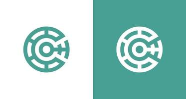 kreatives Buchstabe c Anfangslogo mit dem abstrakten Kryptoelement, ct Logovorlage .vector vektor