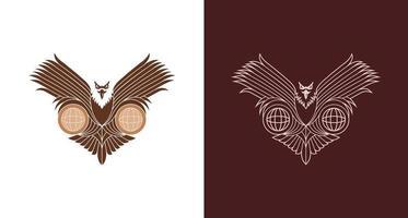 modern linje konst örn håller jordglobar illustration, logotyp mall. monoline eagle logotyp vektor