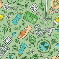 Hand gezeichnete Karikatur Öko recyceln nahtlosen Muster Hintergrund vektor