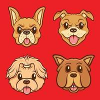 söt hund ansikte karaktär illustration set vektor