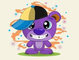 tecknad björn bär en mössa. rolig färgglad illustration. nallebjörn i ett lock på en bakgrund av rök och bollar. vektor