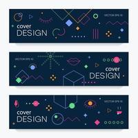 broschyrer med memphis designelement vektor