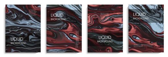 flüssiger Hintergrund in grauen und roten Farben vektor