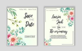 goldene Einladungskarte der Hochzeitsblume speichern das Datumsentwurf mit rosa Blumen vektor