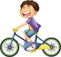 en pojke som rider en cykeltecknad karaktär isolerad på vit bakgrund vektor