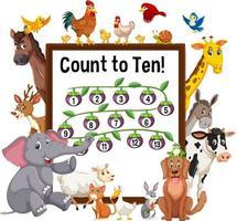 räkna till tio brädor med vilda djur vektor