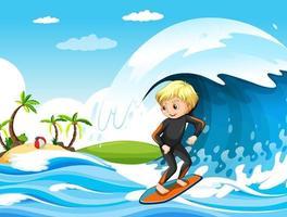 stor våg i havsscenen med pojke som står på en surfbräda