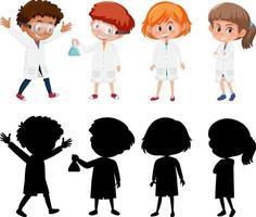 Satz verschiedene Kinder, die weißes Laborkleid tragen vektor