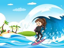 große Welle in der Ozeanszene mit Mädchen, das auf einem Surfbrett steht vektor