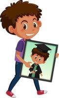 tecknad karaktär av en pojke som håller sitt examensporträttfoto vektor