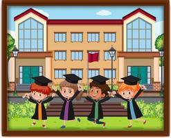 ein Bild von Kindern im Abschlusskostüm