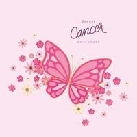 rosa Schmetterling mit Blumen für Brustkrebs-Bewusstseinsvektorentwurf vektor