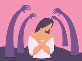 traurige unglückliche junge Frau, umgeben von Händen mit Schuld. depressive Frau bedeckt ihren Körper mit den Händen. vektor