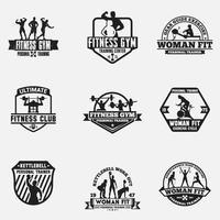 fitness och gym logotyper märken set