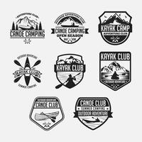 Kajak Kanu Abzeichen Logo Vektor Design Vorlagen gesetzt