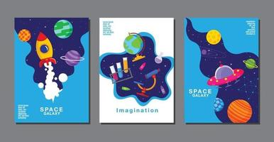 Satz von Banner-Vorlagen. Universum, Weltraumgalaxie, Design. Vektorillustration vektor