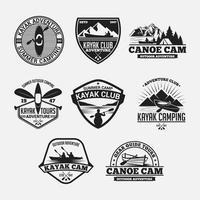 Kajak Kanu Logos Abzeichen und Etiketten gesetzt vektor