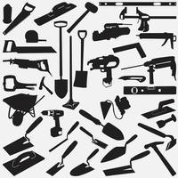 Vektor-Design-Vorlagen für die Sammlung von Mauerwerk-Werkzeugen vektor