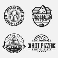 Pizza Logo Design Vektor Vorlage Set