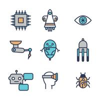 Futurism skisserade ikoner vektor