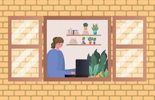 Frau mit Laptop, der durch Fenstervektorentwurf arbeitet vektor