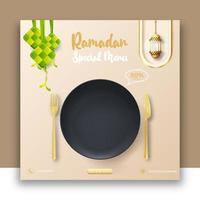 ramadan mat bannerannonser med realistisk svart tallrik. redigerbar ramadan inläggsmall för sociala medier. vektor
