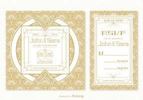 Vintage Art Deco Bröllopskort Vector Mallar