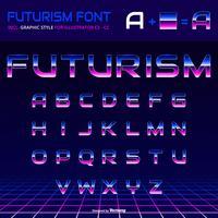 Glänsande alfabet 80-tal Retro Futurism grafisk stil vektor