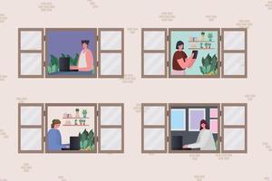 Satz von Frauen und Männern mit Laptop und Tablet, die am Fenster arbeiten vektor