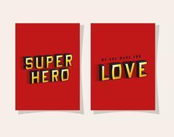 3D-Superheld und Liebesbeschriftung auf Vektorentwurf des roten Hintergrunds vektor