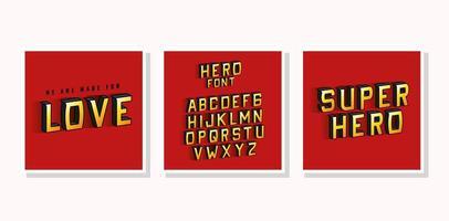 3D-Superheldenliebesbeschriftung und -alphabet auf Vektorentwurf des roten Hintergrunds vektor