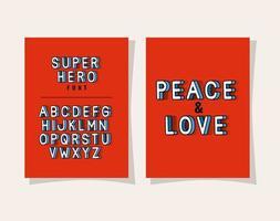 3d Frieden und Liebesbeschriftung und Alphabet auf rotem Hintergrundvektorentwurf vektor