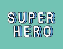 3d Superheldenbeschriftung auf blauem Hintergrundvektorentwurf vektor