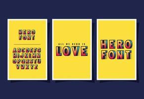 3D-Superhelden-Liebesbeschriftung und Alphabet auf gelbem Hintergrundvektorentwurf vektor