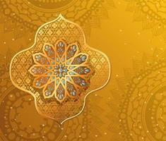 Goldarabeskenblume auf Gelb mit Mandalas-Hintergrundvektorentwurf vektor