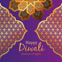 glückliche diwali Goldarabeskenblumen und -rahmen auf lila Hintergrundvektorentwurf vektor