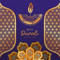 glückliche Diwali Kerze Gold Arabesque Blumen und Rahmen auf blauem Hintergrund Vektor-Design vektor