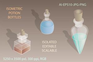 3 former av isometriska potionsflaskor vektor