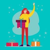 junge Frau, die Geschenkbox hält, die Hallo Illustration im flachen Stil sagt vektor