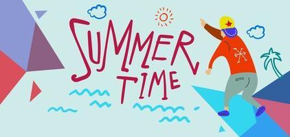 Sommerzeit Ferienzeit Banner Illustration für Kinderurlaub vektor