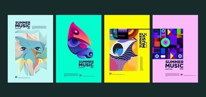 Sommerferien Musik und Kunst Festival Poster Set vektor